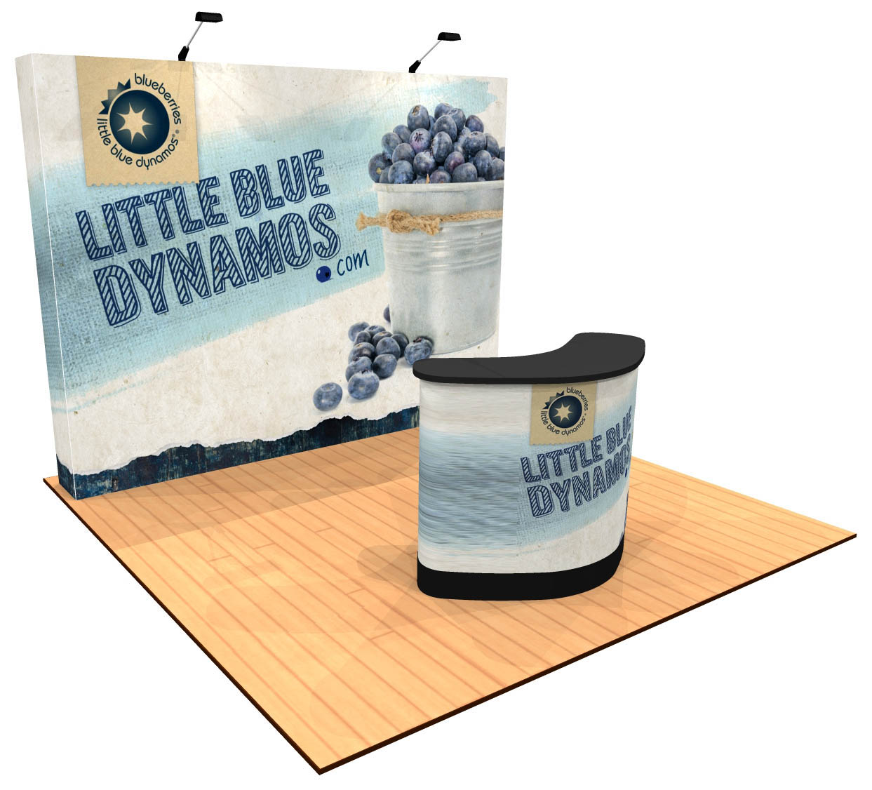 10ft Tension Fabric Pop Up Display with Premium Counter Angle View