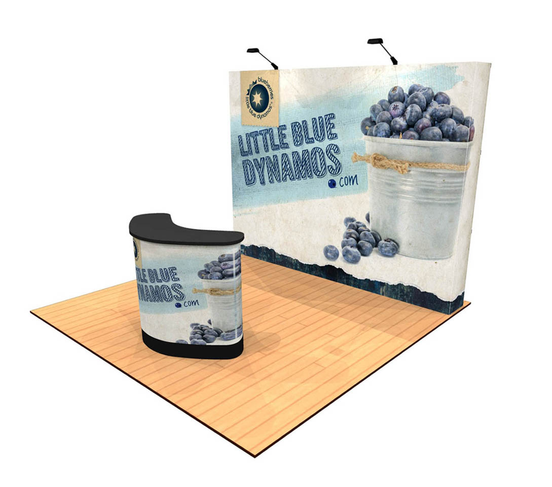 10ft Tension Fabric Pop Up Display with Premium Counter