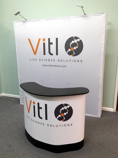 tension fabric pop up display with large counter