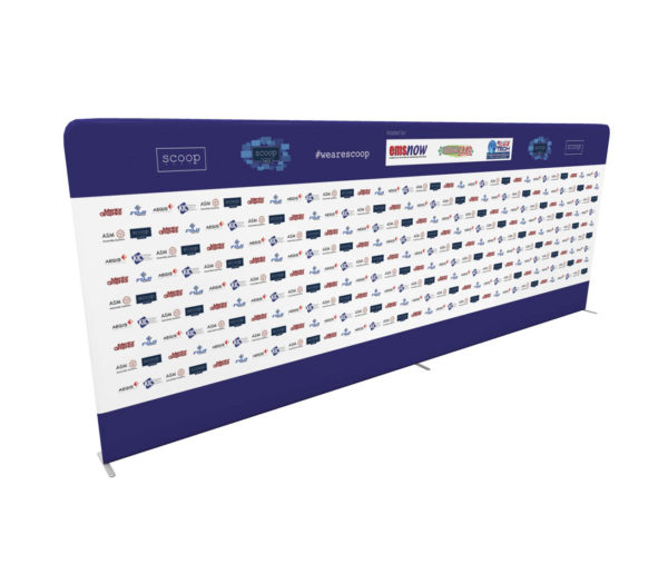 20ft step and repeat tension fabric media backdrop